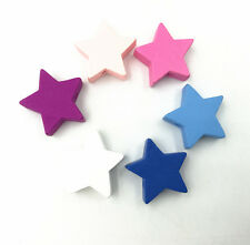 50X Star shape Wood Beads Mix Color Spacer Baby Pacifier Clip Jewelry Making DIY