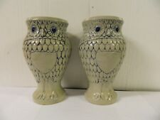 West Germany Art Pottery Owl Steins No Handles .05L / 16 oz Set of 2