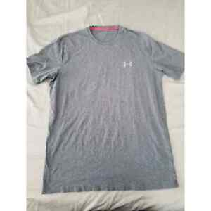 Under Armour Mens HeatGear Charged logo althletic gray Tshirt tee Size M