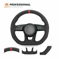 DIY Custom Black Suede Steering Wheel Cover for Audi A3 A5 S3 S4 S5 RS 3 RS 5