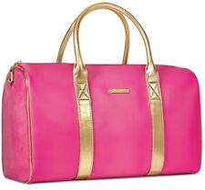 Juicy Couture Pink Gold velvet faux leather duffle overnight bag purse travel
