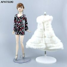 "Lady Floral Rompers White Fur Vest Coat For 11.5"" Doll Outfits Clothes Set 1/6"