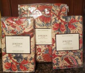 Pottery Barn Jordan King Duvet Sham Set Floral Cotton Linen Beige Red Denim Blue