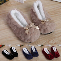 Home Slippers Women Cute Soft Indoor House Fur Lined  Non Slip Warm Shoes Winter