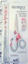 Westcott Floral 8 Scissors Eraser Amp 12 Ruler Matching Set Flower Pattern Pink