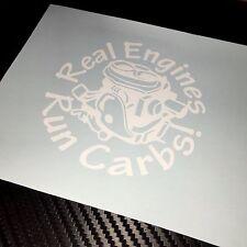 MOTORI Reale Bianco eseguire carboidrati Auto Adesivo Decalcomania Rod Custom Retrò Classico Muscolo