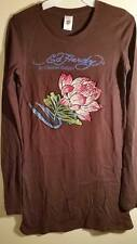 NWT ED HARDY Brown Long Sleeve Rhinestone Pink Lotus Shirt Legging Tunic Top S
