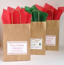 Personalised Christmas Xmas Gift Bags Teacher With Tissue paper Luxury