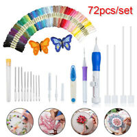 73Pc DIY Embroidery Pen Magic Knitting Sewing Tool Kits Punch Needle W/Threads