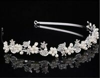 Women Girl Crystal Pearl Leaf Hair head Band Headband Hoop Tiara Crown headpiece