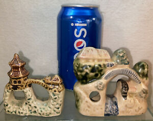 Vtg 2pc 40's Japan Pottery Oriental House Bridge Mini Aquarium Decor figurine