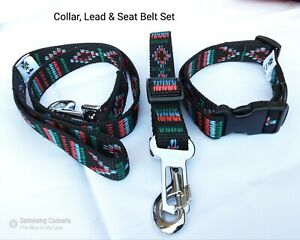 Dog Collar, Lead and Seat Belt by The Wee Scots Lass. Hard Wearing 3 Piece Set