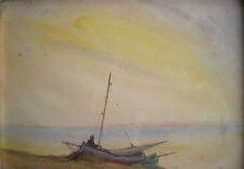 PAUL DUVERNEY (1866-1925) AQUARELLE MARINE BATEAU DE PECHE