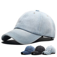 Men Washed Denim Plain Cotton Cap Style Adjustable Baseball Cap Blank Solid Hat