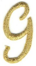 "1 1/8"" Fancy Metallic Gold Script Cursive Alphabet Letter G Embroidered Patch"