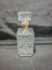 Vintage Clear Glass Crystal Whiskey/Bourbon Decanter with Stopper - Diamond Etch