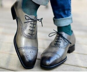 Handmade Leather Men's Brogue Cap Toe Gray shoes, Men leather Stylish shoes