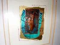 HAND MADE COLLAGE PAPER COPPER PAINTING BY JOAN WELHAM WELSH ARTIST SAXOPHONE