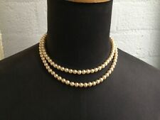 Lovely Vintage Double String of Pearl Beads Necklace-pretty clasp #5678
