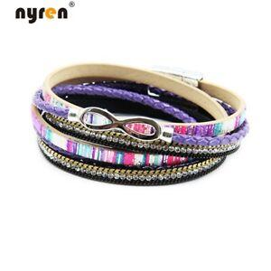 Leather Double Wrap Magnet Bracelet Infinity Charms Bracelet Multi Color 07107