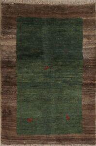 Vintage Green Geometric Gabbeh Zollanvari Area Rug Hand-knotted Oriental 4'x6'