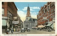 Fall River MA Main St. & City Hall Store Signs & Cars c1920 Postcard