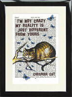 Alice in Wonderland Quote Vintage Dictionary Page Art Print Cheshire Cat Crazy