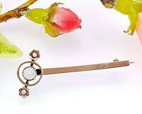 Antique 9 CT Rose Gold Opal & Seed Pearl Bar Brooch - Tie Pin - Gift Boxed