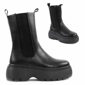 Stivali donna elastici platform tronchetti biker Chelsea scarpe TOOCOOL 25192-3
