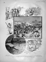 Original Old Antique Print 1903 Somaliland King African Rifles Shooting Hunting