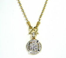 """Chic Thai CZ Pendant 24"""" Beads Chain 18k White 22k Yellow Gold GP Necklace GT66"""