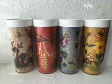 Vintage 70s Thermo Serv Tumblers Glasses Set of 4 Crewel Embroidery Design USA