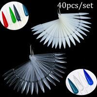 40Pcs False Display Nail Art Fan Wheel Polish Practice Tips Sticks Tools DIY