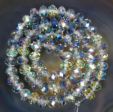 150 Pcs 3x4mm Faceted Multicolor AB Crystal Rondelle Gems Loose Beads