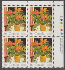 CANADA #1148 36¢ Christmas Poinsettia UR Inscription Block MNH