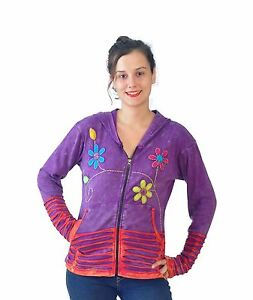 Tattopani Ladies Long Multicolored Stone Washed Cardigan With Attached Hood