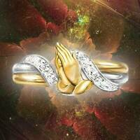18K Gold Filled White Topaz Ring Woman Jewelry Engagement Praying Hand Size 5-10