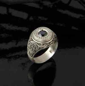 14K WHITE GOLD MEN'S ENGAGEMENT SIGNET FANCY RING 0.88CT GORGEOUS BLACK DIAMOND