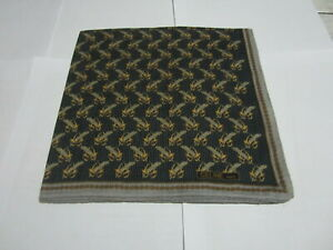 "USED NAVY BLUE FEATHER  PATTERN COTTON 18"" HANDKERCHIEF POCKET SQUARE FOR MEN"
