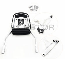 Detachable Backrest Sissy Bar Chrome Flame For 84-99 Harley Softail FXSTC FLSTC