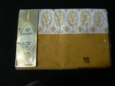 Vintage CANNON ROYAL FAMILY PERCALE SHEET Twin Flat Gold White Print Retro NIP
