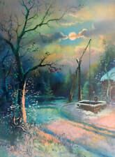 Old Homestead Cabin Well Winter Snowy Full Moon Lit Night