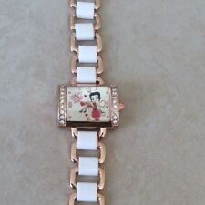 Betty Boop Watch Rectangle Silver Dial Crystal Bezel on Rose Gold & White Band!