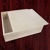 Plain Wooden Box with Sliding Lid / 33x33 cm / Memory Keepsake Storage Craft DIY