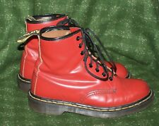 Vintage 90's Dr. Martens 1914 Cherry Red Leather 8 Eyelet Boots Size 8