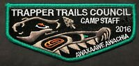 TRAPPER TRAILS COUNCIL BSA OA LODGE AWAXAAWE AWACHIA 535 2016 CAMP STAFF FLAP