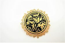 Very Pretty Vtg Large Gold Tone Damascene Brooch w/Filigree Frame