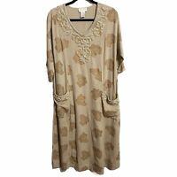 Soft Surroundings Boho Long Maxi Embroidered Cotton Dress Size Petite Medium