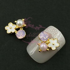 20 White Flower Faux Pearl Beads Pink Opal Rhinestones Cluster Alloy Nail Charms