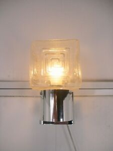 Retro Mid Century Modernist Graewe Space Age  Wall Sconce Square Clear Glass